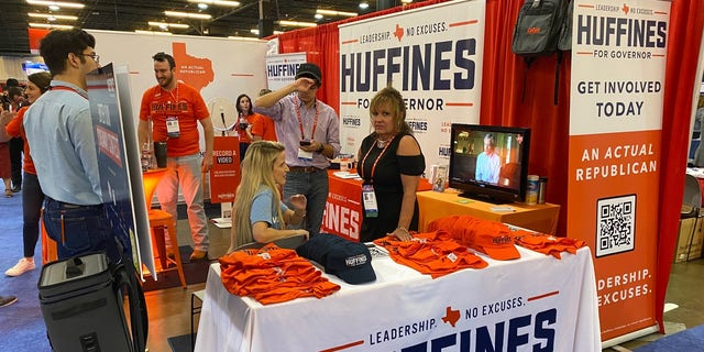 The CPAC Dallas booth for Texas GOP gubernatorial candidate and former state Sen. Dan Huffines, in Dallas, Texas on July 9, 2021. (Fox News)