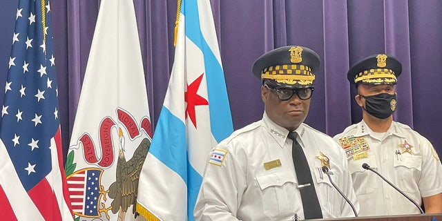 Chicago Police Superintendent David Brown speaks during a press conference Monday