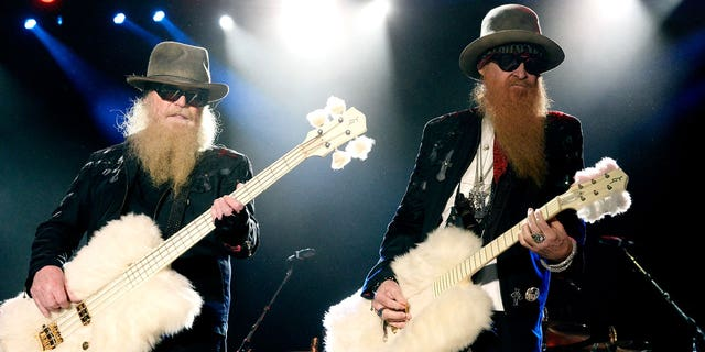 Dusty Hill (left) and Billy Gibbons of ZZ Top perform during day two of 2015 Stagecoach, California's Country Music Festival, at The Empire Polo Club on April 25, 2015 in Indio, Calif.