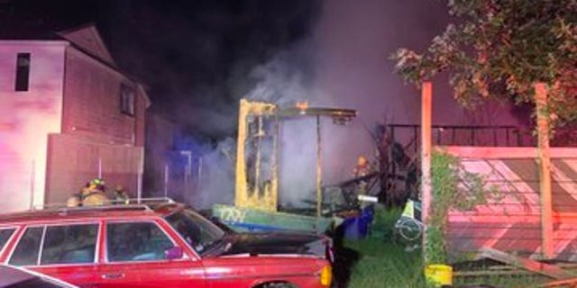 One of several homes in Austin damaged by fireworks.
