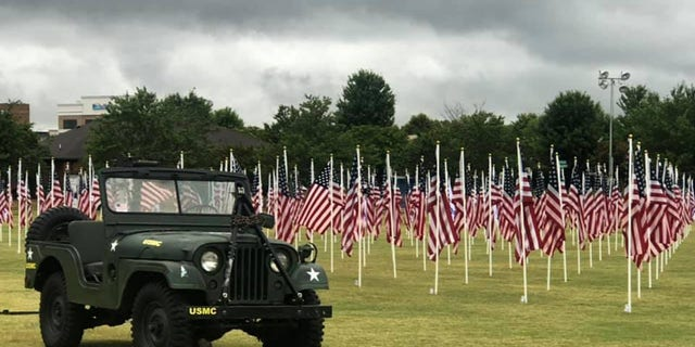 One of the military vehicles exhibited for the Field of Flags event (Credit: Katie Muir Stankiewicz/Exchange Club of Mooresville and Lake Norman)