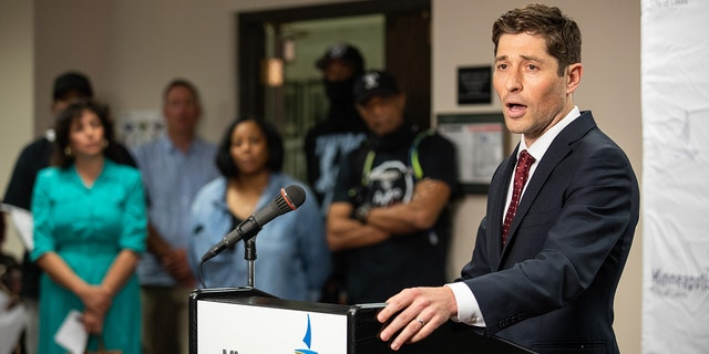 Jacob Frey, mayor of Minneapolis, speaks during a news conference at City Hall in Minneapolis, Minnesota, U.S., on Thursday, June 3, 2021. (Getty Images)
