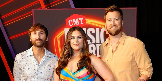 Lady A – Dave Haywood, Hillary Scott and Charles Kelley – are seen at Bridgestone Arena in Nashville, Tenn., June 9, 2021. (Getty Images)