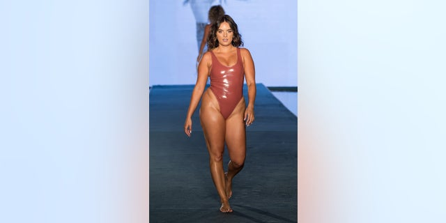 Natalie Mariduena walks the runway during the 2021 Sports Illustrated Swimsuit Runway Show during Paraiso Miami Beach at Mondrian South Beach on July 10, 2021 in Miami, Florida.