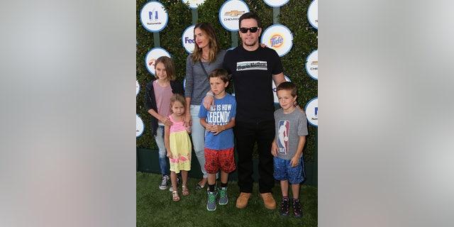 Actor Mark Wahlberg, wife model Rhea Durham and their children.