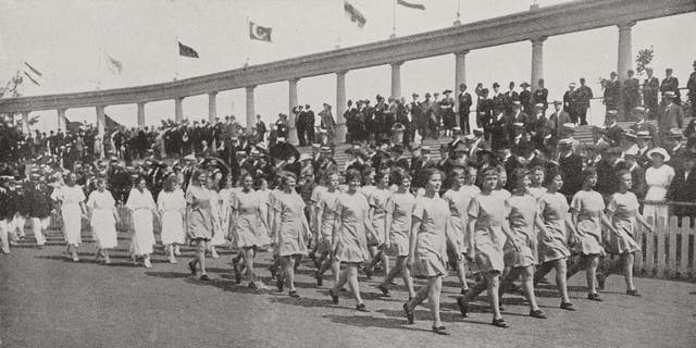 Danish gymnasts paraded at the Games of the VII Olympiad in Antwerp, Belgium, August 29, 1920. This image was published in the L'Illustrazione Italiana, a Milan-based weekly magazine that operated between 1873 and 1962.