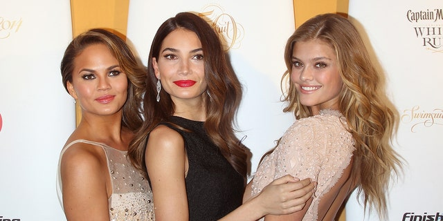 Models Chrissy Teigen, Lily Aldridge and Nina Agdal attend the Sports Illustrated Swimsuit 50th Anniversary Party at Swimsuit Beach House on February 18, 2014 in New York City.