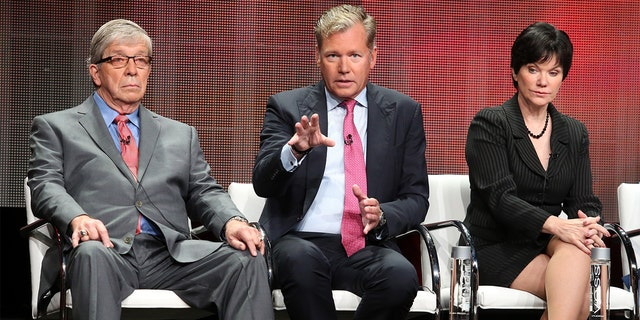 (L-R) Hosts Lt. Joe Kenda, Chris Hansen and Candice DeLong speak onstage during the 'A New Season of ID' panel discussion at the Investgation Discovery portion of the 2015 Summer TCA Tour at The Beverly Hilton Hotel on July 30, 2015 in Beverly Hills, California.