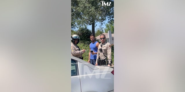 Britney Spears' boyfriend Sam Asghari was involved in a car accident near the pop star's Thousand Oaks home on Monday.