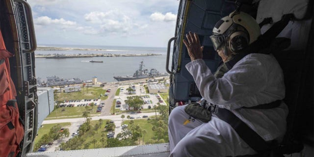 After circling the USS Delbert D. Black, Irma Black then asked for an aerial tour of nearby Jacksonville.