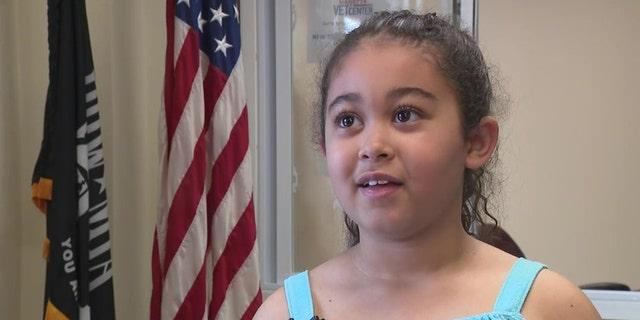 Jade Britt, 7, from Marietta, Georgia, has raised $700 to help homeless veterans in her area. (FOX 5 Atlanta)