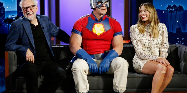 """James Gunn, John Cena and Margot Robbie of """"The Suicide Squad"""" appear on 'Jimmy Kimmel Live!'"""