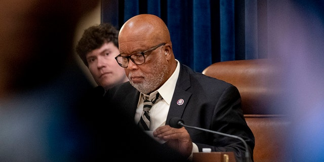 Chairman Rep. Bennie Thompson, D-Miss., meets with the select committee on the Jan. 6 attack as they prepare to hold their first hearing Tuesday, on Capitol Hill, in Washington, Monday, July 26, 2021.