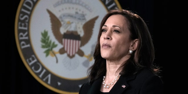 Vice President Kamala Harris waits to speak during an event on high-speed internet access in the South Court Auditorium at the White House complex on June 3, 2021.(Photo by Drew Angerer/Getty Images)