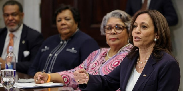 Vice President Kamala Harris hosts members of Texas state Senate and House of Representatives, who in May blocked passage of legislation that would have made it significantly harder for the people of Texas to vote, at the White House in Washington, U.S., June 16, 2021. (Reuters)