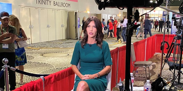 Republican Gov. Kristi Noem of South Dakota sits down for an interview with Fox News at CPAC Dallas, on July 11, 2021 in Dallas, Texas.