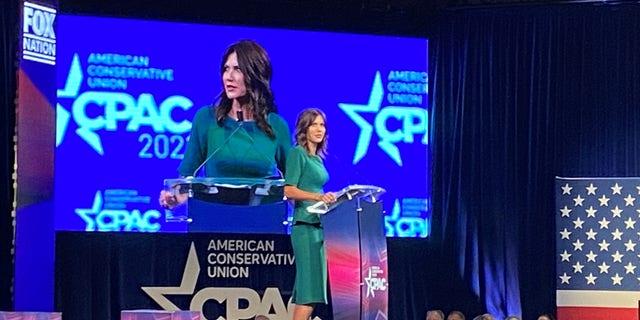 Republican Gov. Kristi Noem of South Dakota speaks at CPAC Dallas, on July 11, 2021 in Dallas, Texas