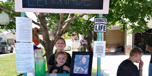 Sisters Myleigh Madsen, 9, and Makayla Madsen, 7, build a lemonade stand to raise awareness for organ donations to honor their late sister Makenzie.