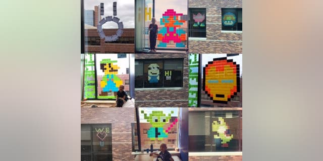 The Mixdorf family, Johnna Schindlbeck and Truman Medical Centers staff spent several weeks sending sticky note art to each other from their windows between May and July. Their designs included iconic characters from Nintendo, Marvel and Disney franchises,