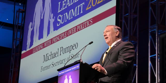 Former Secretary of State Mike Pompeo speaks at the Family Leadership Summit in Des Moines, アイオワ, 七月に 16, 2021.