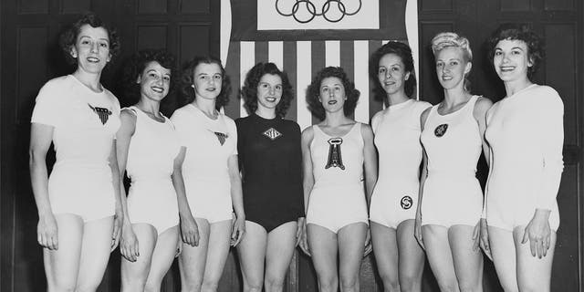 Eight women were selected to represent the U.S. in gymnastics at the London 1948 Summer Olympics. Pictured here after the May 8, 1948 try-outs are: Clara Schroth, Helen Schifano, Marian T Barone, Anita Simonis, Meta Elste, Ladislava Bakanic, Dorothy Dalton and Consetta Caruccio-Lenz.