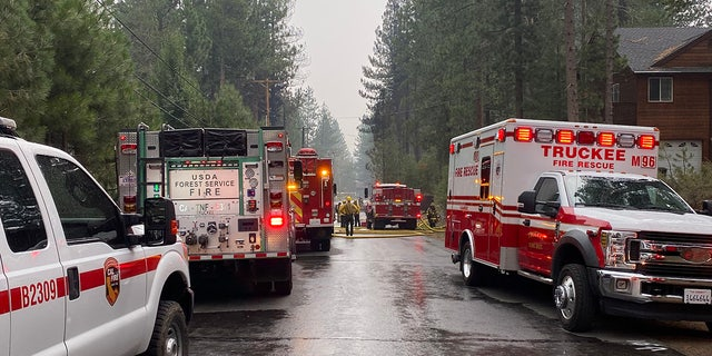 Emergency crews respond to the plane crash in Truckee on Monday