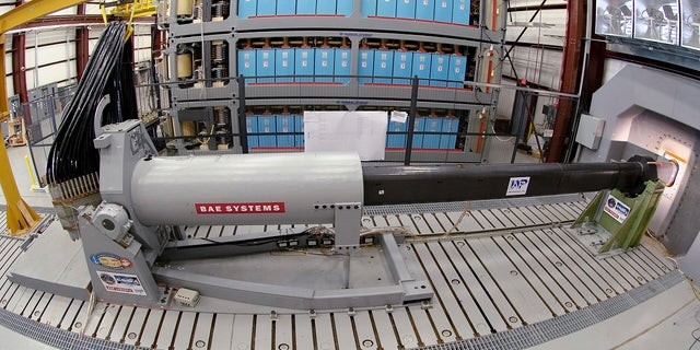 An electromagnetic railgun prototype launcher at the Naval Surface Warfare Center, Dahlgren Division test facility in Dahlgren, Va., in 2012. (AP/U.S. Navy)