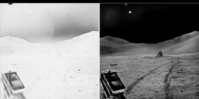 """A """"antes y después"""" foto tomada desde el vehículo itinerante lunar (LRV) que muestra el módulo lunar """"Halcón"""""""