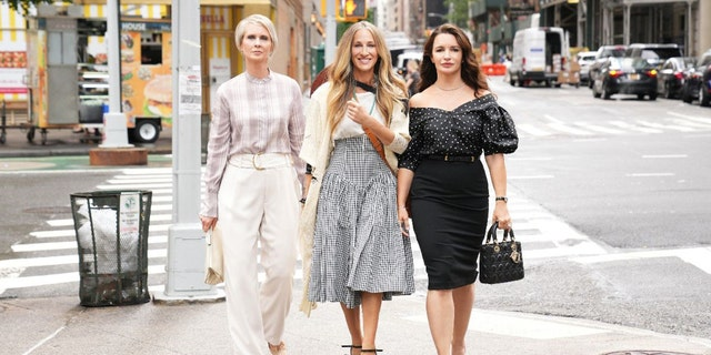 """Cynthia Nixon, Sarah Jessica Parker, and Kristin Davis return as Miranda, Carrie, and Charlotte in """"And Just Like That."""""""