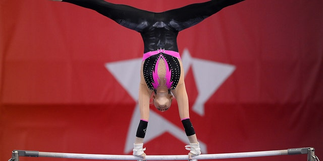 Sarah Voss of Germany competes on Uneven Bars during the Women's All-Around Final of the Artistic Gymnastics Die Finals 2021 on June 3, 2021, in Dortmund, Germany. (Matthias Hangst/Getty Images)