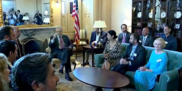 Sen. Chuck Schumer, D-N.Y., meets with Democratic Texas lawmakers who fled the legislature to stop the passage of new voting laws. They are meeting at the Capitol on July 13, 2021.