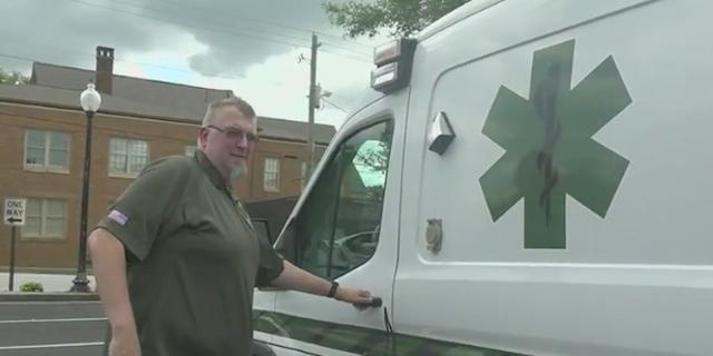 Charles McFall preparing to enter the Trinity EMS paramedic vehicle. (Jayla Whitfield/Fox News)