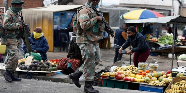 South African Defence Force soldiers on patrol in Alexandra Township, north of Johannesburg, Thursday, July 15 2021. (AP)
