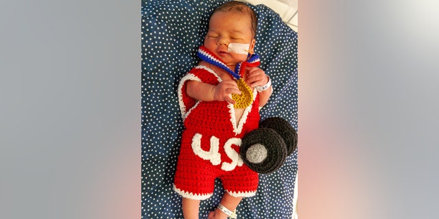 Nurses crocheted outfits inspired by the big games including swimming, weightlifting, tennis, gymnastics and basketball.