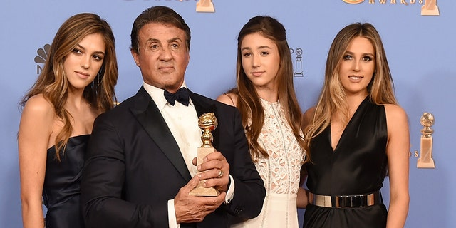 Left to right: Sistine Stallone, Sylvester Stallone, Scarlet Stallone and Sophia Stallone.