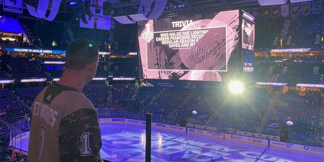 Ty Edwards, 51, looks toward center ice at Game 2 of the Stanley Cup Final at Amalie Arena on Wednesday, June 30. (Credit: Mark Van Trees)
