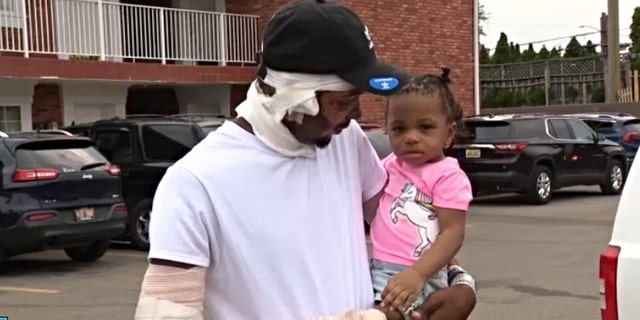 Ray Lucas saved his two infant, twin daughters from a house fire last weekend while they were asleep in the basement. (Credit: Fox 2 Detroit)