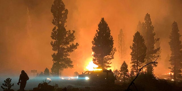 In this photo provided by the Bootleg Fire Incident Command, the Bootleg Fire burns at night in southern Oregon on Saturday, July 17, 2021.  (Bootleg Fire Incident Command via AP)