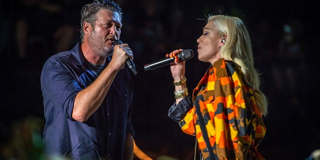 Stefani and Shelton perform for the first time in public together during the Country Thunder Music Festival in Twin Lakes, Wisconsin.