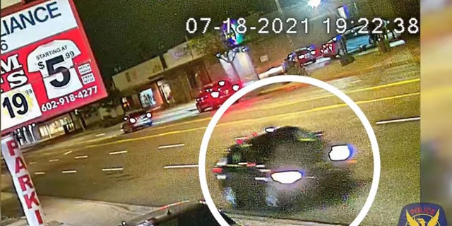 Phoenix police are searching for a vehicle of interest that was spotted leaving the scene near 17th Street and McDowell Road around 3:30 a.m. on July 18.