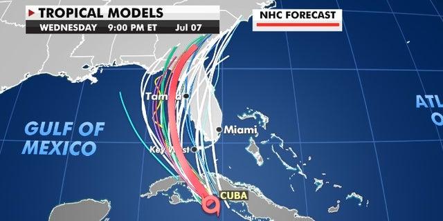 Tropical Storm Elsa's current projected path. (Fox News)