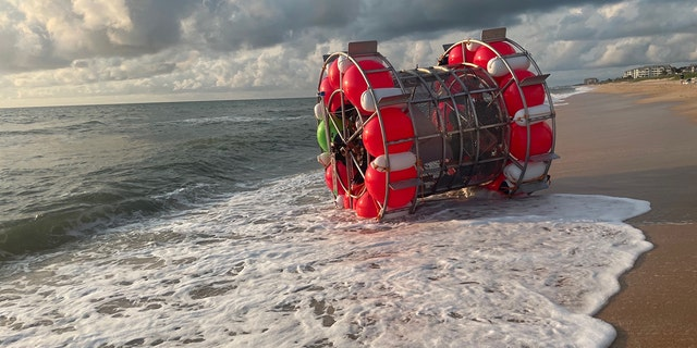 The only passenger of the bubble-like ship was found safe after being washed ashore on Saturday, authorities said.