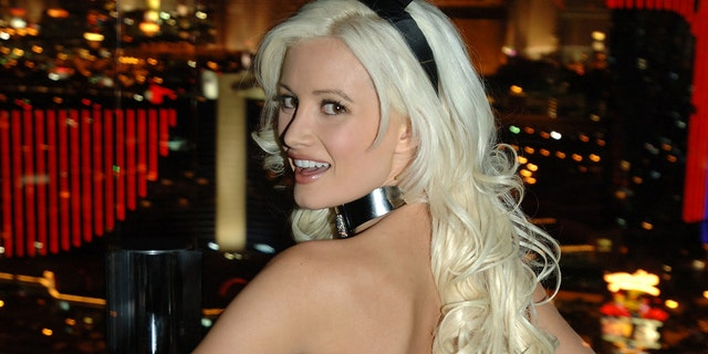 Holly Madison in a Playboy bunny uniform designed by Roberto Cavalli.