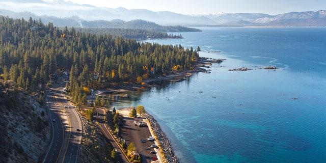 A twin-engine aircraft crashed near a golf course near Lake Tahoe, Calif.