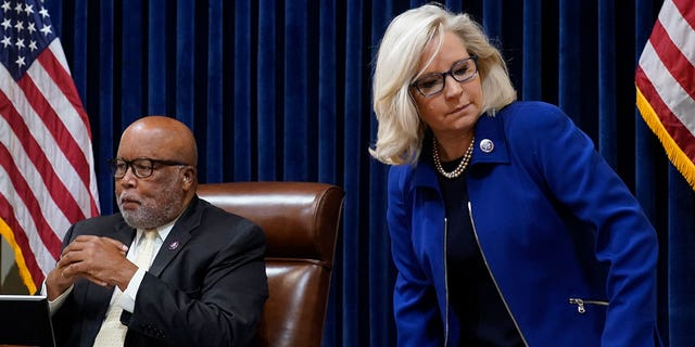 Rep. Liz Cheney, R-Wyo., and Chairman Rep. Bennie Thompson, D-Miss., arrive for the first House select committee hearing on the Jan. 6 attack on Capitol Hill in Washington, Tuesday, July 27, 2021. (AP Photo/ Andrew Harnik, Pool)