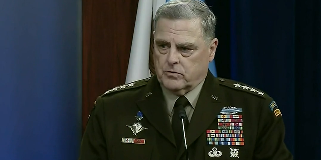 Joint Chiefs of Staff Chair Gen. Mark Milley speaks during a Wednesday afternoon news briefing.