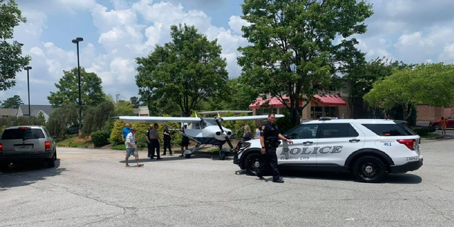 Police say there were no injuries to the pilot or damage to the plane following the landing Sunday. (Peachtree City Police and Fire Rescue)