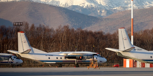 An Antonov An-26 plane with 22 passengers and six crew members, flying from the city of Petropavlovsk-Kamchatsky to the town of Palana, went missing early Tuesday in the Russian Far East region of Kamchatka, local officials reported. (AP Photo/Marina Lystseva)
