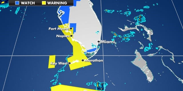 Tropical storm watches and warnings currently in effect. (Fox News)