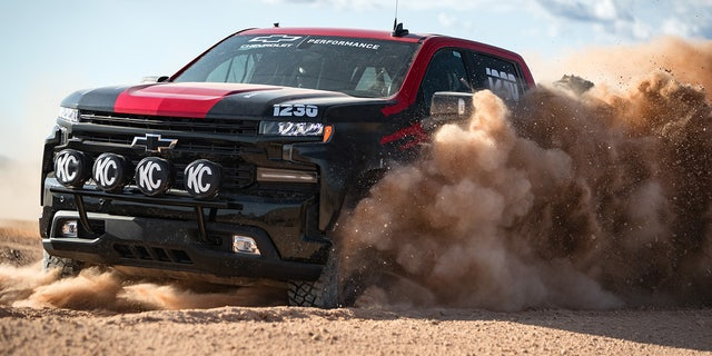 The Silverado race truck is based on the Trail Boss trim.